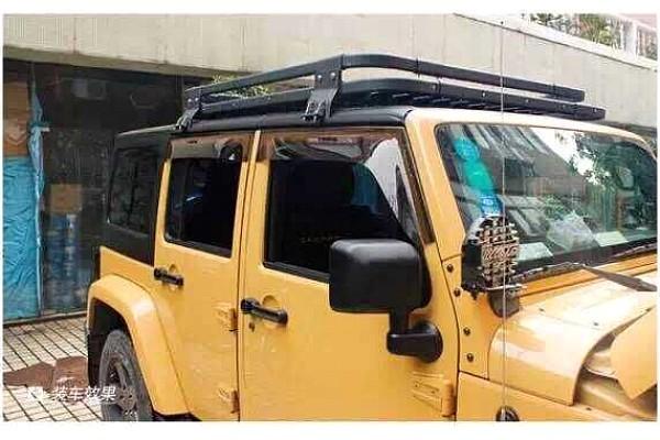 Picture of a Light-weight Aluminium Roof Rack Gutter-mounted for Jeep Wrangler JK (4 Door)