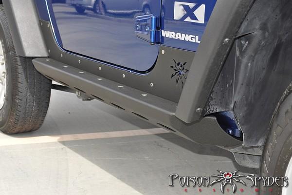 Picture of a Poison Spyder Brawler Style Rock Slider for 2-Door Jeep Wrangler JK Black-satin (Set)