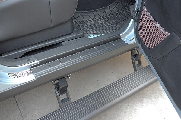 Picture of a Electronic Automatic Retractable Side Steps with Blue LED Lights for Jeep JK 4-Door (Set)